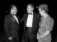 FILE -  Les Ministres Michel Dupuis et Flora McDonald avec Serge Losique (M)<br /> <br /> Ouverture du FFM le 25 aout 1994<br /> <br /> PHOTO : Agence Quebec Presse