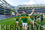Donal O'Sullivan Kerry Minors celebrate with the Tom Markham Cup after defeating Derry in the All-Ireland Minor Footballl Final in Croke Park on Sunday.