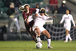 03 December 2010: Stanford's Camille Levin (right) and Boston College's Kate McCarthy (left). The Stanford University Cardinal defeated the Boston College Eagles 2-0 at WakeMed Stadium in Cary, North Carolina in an NCAA Women's College Cup semifinal game.