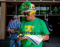 ELMONT, NY - JUNE 09: A fan wears a unique hat on Belmont Stakes Day at Belmont Park on June 9, 2018 in Elmont, New York. (Photo by Scott Serio/Eclipse Sportswire/Getty Images)