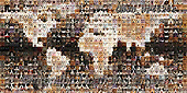 Kim, ANIMALS, REALISTISCHE TIERE, ANIMALES REALISTICOS, fondless, photos,+Montage of 800 Cats and Dogs head shots, in a mosaic of squares, forming a map of the world,++++,GBJBWP45274,#a#, EVERYDAY