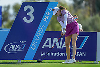 Kim Kaufman hits her drive off of the 3rd tee during Round 3 at the ANA Inspiration, Mission Hills Country Club, Rancho Mirage, Calafornia, USA. {03/31/2018}.<br />