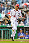 8 September 2011: Washington Nationals outfielder Jayson Werth takes a walk in the rain during game action against the Los Angeles Dodgers at Nationals Park in Washington, DC. The Dodgers defeated the Nationals 7-4 to take the third game of their 4-game series. Mandatory Credit: Ed Wolfstein Photo