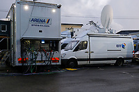 Broadcast vehicles take over the car park during  of Hampton & Richmond Borough vs Oldham Athletic, Emirates FA Cup Football at the Beveree Stadium on 12th November 2018