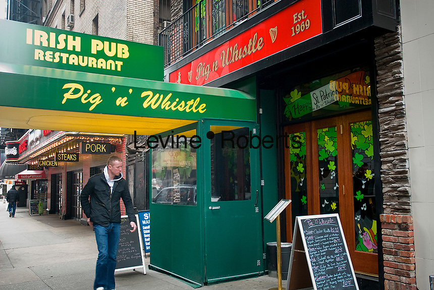 The Pig n' Whistle Irish Pub in Midtown in New York is seen on Thursday, March 4, 2010. In advance for St. Patrick's Day. (© Richard B. Levine)