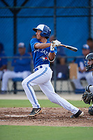 GCL Blue Jays Javier D'Orazio (4) bats during a Gulf Coast League game against the GCL Tigers West on August 3, 2019 at the Englebert Complex in Dunedin, Florida.  GCL Blue Jays defeated the GCL Tigers West 4-3.  (Mike Janes/Four Seam Images)