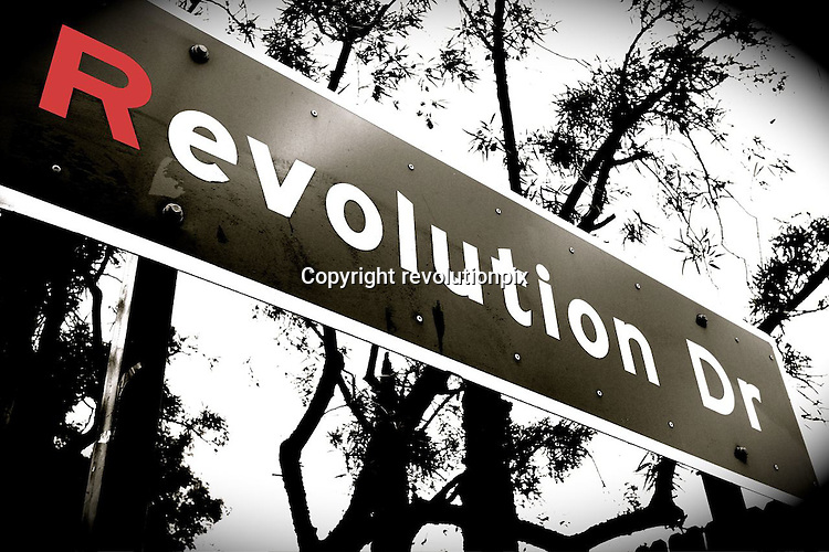 Street Sign of revolution drive..April 6 2008..artwork from a picture taken of the sign of revolution drive in Rancho Cucamonga, California..(illustration used by revolutionpix.com for the welcome page of the website)