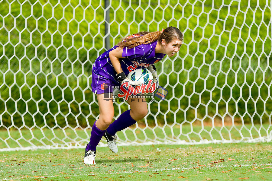 Sydney Branson (24) of the Clemson Tigers makes a save against the Wake Forest Demon Deacons at Spry Soccer Stadium on September 30, 2012 in Winston-Salem, North Carolina.  The Demon Deacons defeated the Tigers 4-0.  (Brian Westerholt/Sports On Film)