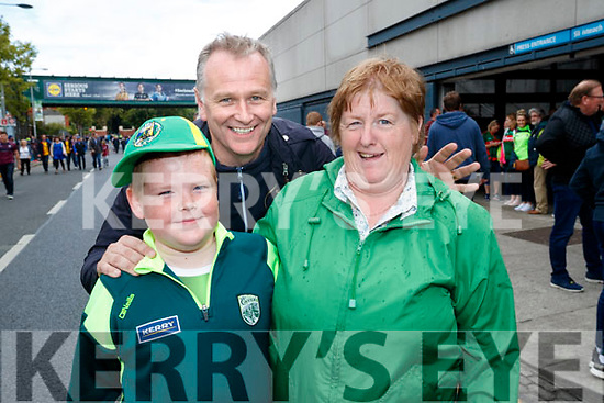 Kerry fans, Liam and Pauline Walsh, Ballylongford, pictured with Dáithí Ó Sé (Dingle) enjoying the All Ireland SFC quarter final Kerry v Galway in Croke Park, Dublin on Sunday.