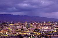 Nighttime view of downtown Tucson, AZ. Tucson Arizona USA.