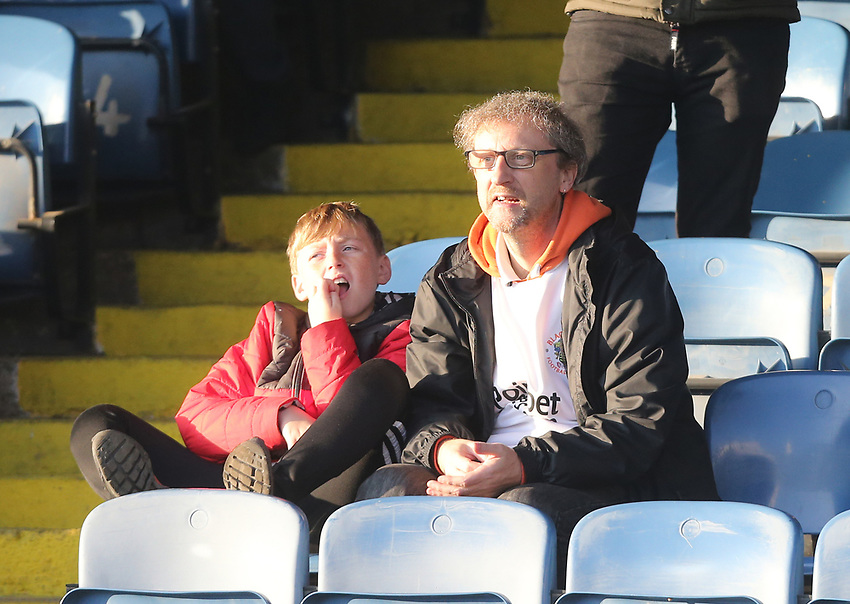 Blackpool fans<br /> <br /> Photographer Rob Newell/CameraSport<br /> <br /> The EFL Sky Bet League One - Southend United v Blackpool - Saturday 17th November 2018 - Roots Hall - Southend<br /> <br /> World Copyright © 2018 CameraSport. All rights reserved. 43 Linden Ave. Countesthorpe. Leicester. England. LE8 5PG - Tel: +44 (0) 116 277 4147 - admin@camerasport.com - www.camerasport.com