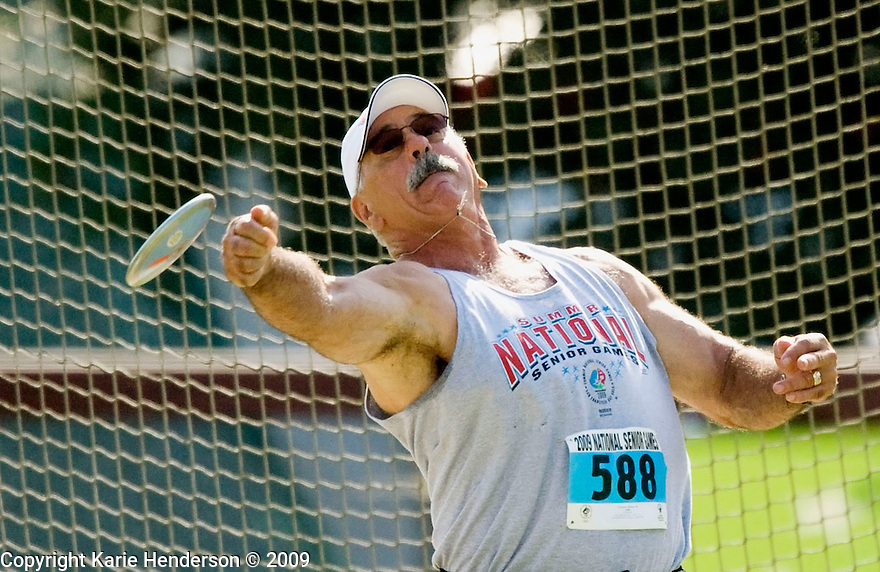 William Victorino, CA, throws the discus during the men's 60-64 competition during the Senior Games 2009, at Stanford University's Cobb Track and Angell Field, in Palo Alto, Calif., on Sunday, August 09 2009.