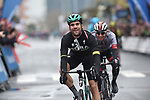 Race leader Max Schachmann (GER) Bora Hansgrohe wins a very wet Stage 4 of the Tour of the Basque Country 2019 from Tadej Pogaar (SLO) UAE Team Emirates, running 163.6km from Vitoria-Gasteiz to Arrigorriaga, Spain. 11th April 2019.<br /> Picture: Colin Flockton | Cyclefile<br /> <br /> <br /> All photos usage must carry mandatory copyright credit (&copy; Cyclefile | Colin Flockton)