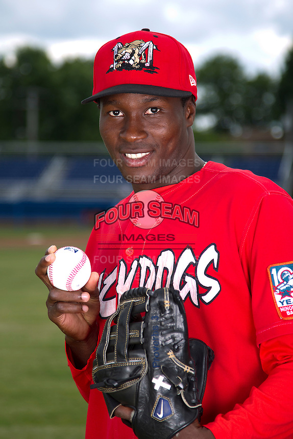 Batavia Muckdogs pitcher Jose Almarante #30 poses for a photo before the first day of practice for the start of the NY-Penn League at the Dwyer Stadium in Batavia, New York;  June 13, 2011.  Photo By Mike Janes/Four Seam Images