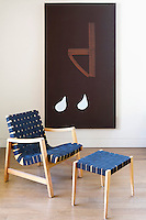 modern blue armchair