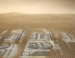 Illustration of Indian rupee notes in desert representing recession