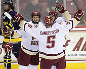 Matt Lombardi (BC - 24), Matt Price (BC - 25), Philip Samuelsson (BC - 5) - The Boston College Eagles defeated the Merrimack College Warriors 7-0 on Tuesday, February 23, 2010 at Conte Forum in Chestnut Hill, Massachusetts.