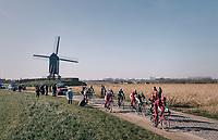 breakaway group on the Huisepontweg cobbles<br /> <br /> Omloop Het Nieuwsblad 2018<br /> Gent › Meerbeke: 196km (BELGIUM)