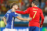 Spain's Alvaro Morata (r) and Liechtenstein's Marcel Buchel after FIFA World Cup 2018 Qualifying Round match. September 5,2016.(ALTERPHOTOS/Acero)