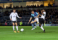 Dominic Gape of Wycombe Wanderers clashes with Adetayo Edun of Fulham during the Carabao Cup match between Wycombe Wanderers and Fulham at Adams Park, High Wycombe, England on 8 August 2017. Photo by Alan  Stanford / PRiME Media Images.