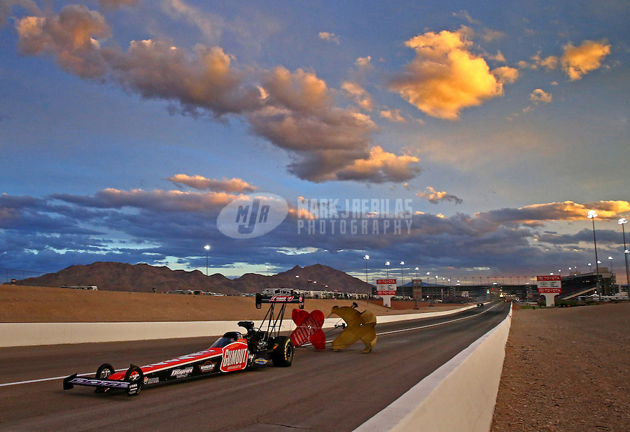 Nov 1, 2014; Las Vegas, NV, USA; NHRA top fuel driver Leah Pritchett during qualifying for the Toyota Nationals at The Strip at Las Vegas Motor Speedway. Mandatory Credit: Mark J. Rebilas-USA TODAY Sports