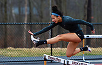 THOMASTON,  CT-040919JS10- Housatonic's Sierra O'Niel took first place in the 300 meter hurdles during their Berkshire League meet with Thomaston Tuesday at Nystrom's Sports Complex in Thomaston.<br /> Jim Shannon Republican American