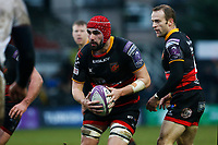 Cory Hill of Dragons during the European Challenge Cup match between Dragons and Bordeaux Begles at Rodney Parade, Newport, Wales, UK. 20 January 2018