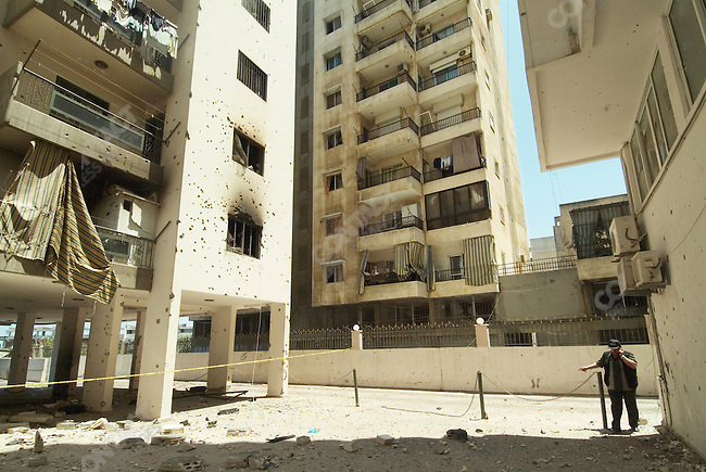 Damage from bombing in the Achrafieh neighborhood of Beirut Lebanon, May 21, 2007