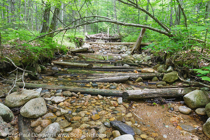 Location of a spur line off the East Branch & Lincoln Logging Railroad (1893-1948) at North Fork Junction in the Pemigewasset Wilderness of New Hampshire. The railroad tracks traveled up this rocky brook bed. Wet areas were corduroyed with small trees laid crossways.