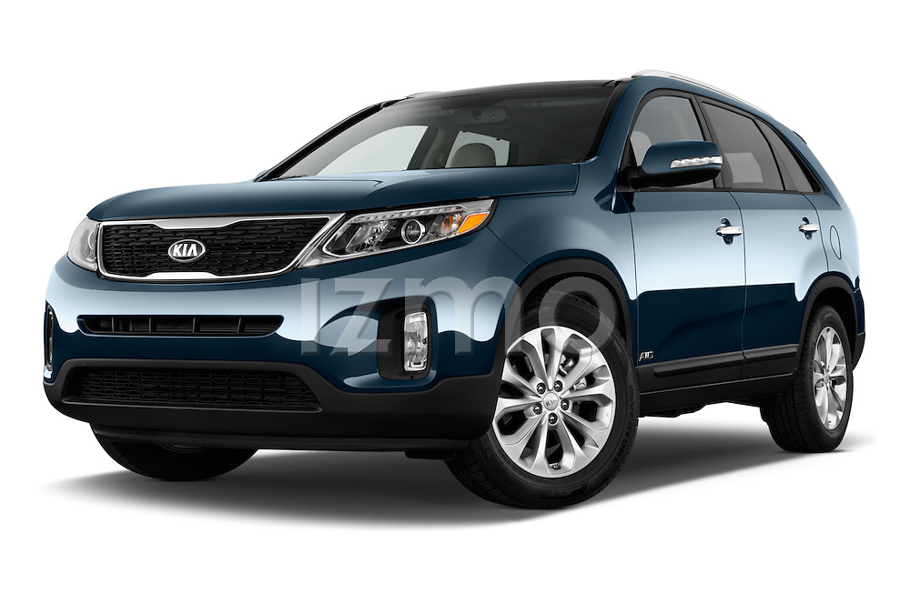 Stock pictures of low aggressive front three quarter view of a 2015 KIA Sorento EX V6 AT 5 Door Suv 2WD Low Aggressive