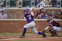 LSU Tigers first baseman Mason Katz (8) follows through on his swing against the Texas A&M Aggies in the NCAA Southeastern Conference baseball game on May 10, 2013 at Blue Bell Park in College Station, Texas. LSU defeated Texas A&M 7-4. (Andrew Woolley/Four Seam Images).