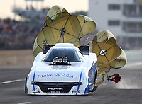 Oct 6, 2018; Ennis, TX, USA; NHRA funny car driver Tommy Johnson Jr during qualifying for the Fall Nationals at the Texas Motorplex. Mandatory Credit: Mark J. Rebilas-USA TODAY Sports