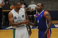 BELLO -COLOMBIA-10-03-2014. Boby Pandy (Izq) de Academia de la Montaña y Tyree Evans (Der) Caribbean Heat durante partido por la fecha 1 de la Liga DirecTV de Baloncesto 2014-I de Colombia realizado en el coliseo de la Universidad San Buenaventura en Bello./ Boby Pandy (L) of Academia de la Montaña and Tyree Evans (R) of Caribbean Heat during match for the first date of the DirecTV Basketball League 2014-I in Colombia played at Universidad San Buenaventura coliseum in Bello.  Photo:VizzorImage/Luis Ríos/STR