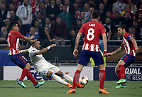 Olympique de Marseille's Jordan Amavi, second from left,  kicks the ball as he is challenged by Club Atletico de Madrid's Angel Correa, left, during the UEFA Europa League final football match between Olympique de Marseille and Club Atletico de Madrid at the Groupama Stadium in Decines-Charpieu, near Lyon, France, May 16, 2018.<br /> UPDATE IMAGES PRESS/Isabella Bonotto