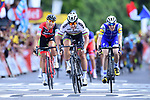 World Champion Peter Sagan (SVK) Bora-Hansgrohe outsprints Greg Van Avermaet (BEL) BMC Racing Team and Dan Martin (IRL) Quick-Step Floors to win Stage 3 of the 104th edition of the Tour de France 2017, running 212.5km from Verviers, Belgium to Longwy, France. 3rd July 2017.<br /> Picture: ASO/P.Ballet | Cyclefile<br /> <br /> All photos usage must carry mandatory copyright credit (&copy; Cyclefile | ASO/P.Ballet)
