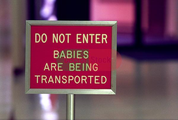 Sign in corridor of hospital maternity ward