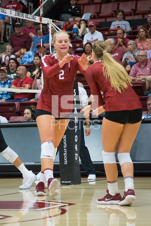 STANFORD, CA - September 9, 2018: Kathryn Plummer, Jenna Gray at Maples Pavilion. The Stanford Cardinal defeated #1 ranked Minnesota 3-1 in the Big Ten / PAC-12 Challenge.