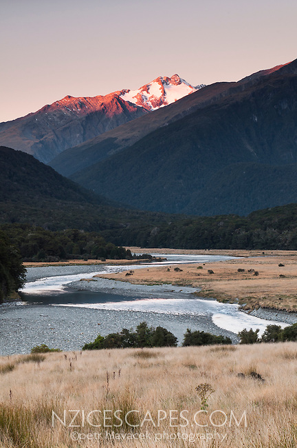 Makarora river and last light on Mt. Brewster 2515m, Mt. Aspiring NP, Central Otago, New Zealand
