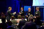 UTRECHT -  vlnr Lodewijk Klootwijk (NVG) , Jeroen Stevens (NGF), Jan Kees van der Velden  (SANOMA Golf) , Frank Kirsten (NPGA), A tribe called Golf, de kracht van de connectie. Nationaal Golf Congres van de NVG 2014 , Nederlandse Vereniging Golfbranche. COPYRIGHT KOEN SUYK