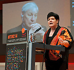 Berlin-Germany - May 23, 2014 -- International Trade Union Confederation - 3rd ITUC World Congress 'Building Workers' Power'; here, Sharan Burrow (ri), ITUC-General Secretary, with Michael Sommer (le, on the screen), outgoing ITUC-President -- Photo: © HorstWagner.eu / ITUC