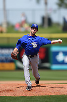 Dunedin Blue Jays pitcher Chad Girodo (18) delivers a pitch during a game against the Clearwater Threshers on April 6, 2014 at Bright House Field in Clearwater, Florida.  Dunedin defeated Clearwater 5-2.  (Mike Janes/Four Seam Images)