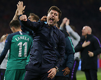 Tottenham Hotspur manager:Mauricio Pochettino elebrates reaching the champions League final after AFC Ajax vs Tottenham Hotspur, UEFA Champions League Football at the Johan Cruyff Arena on 8th May 2019