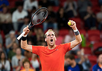 The Hague, The Netherlands, September 15, 2017,  Sportcampus , Davis Cup Netherlands - Chech Republic, First Rubber: Thiemo de Bakker (NED) jubilates if he wins the third set.<br /> Photo: Tennisimages/Henk Koster