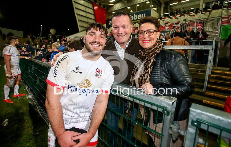 Saturday 7th December 2019 | Ulster Rugby vs Harlequins<br /> <br /> Tom O'Toole with his Dad and Mum after the Heineken Champions Cup Round 3 clash in Pool 3, between Ulster Rugby and Harlequins at Kingspan Stadium, Ravenhill Park, Belfast, Northern Ireland. Photo by John Dickson / DICKSONDIGITAL