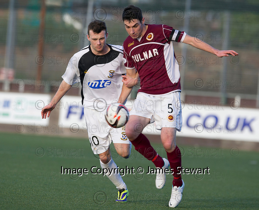 Stenny's Ross McMillan gets away from East Fife's Kevin Smith.<br /> <br /> <br /> 15/02/2014   jspa001_smuir_v_efife     <br /> Copyright  Pic : James Stewart   <br /> <br /> James Stewart Photography 19 Carronlea Drive, Falkirk. FK2 8DN      Vat Reg No. 607 6932 25   Tel:  +44 (0)7721 416997<br /> E-mail  :  jim@jspa.co.uk   If you require further information then contact Jim Stewart on any of the numbers above........