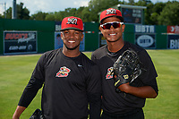 Batavia Muckdogs Edison Suriel (left) and Brayan Hernandez (right) during practice before a NY-Penn League game against the West Virginia Black Bears on June 26, 2019 at Dwyer Stadium in Batavia, New York.  Batavia defeated West Virginia 4-2.  (Mike Janes/Four Seam Images)