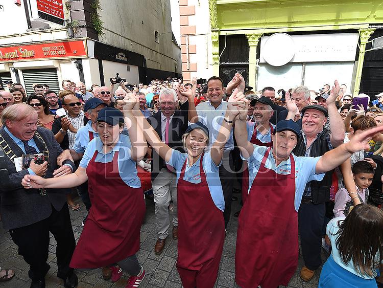 An Taoiseach leo Varadkar meets the staff of Hurley Brothers at Fleadh Ceoil na hEireann. Photo:Colin Bell/pressphotos.ie