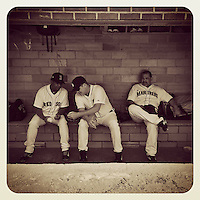 COOPERSTOWN, NY - MAY 24:  Instagram of Pedro Martinez, Todd Jones, and Eddie Guardado sitting in the dugout during the home run derby before the Hall of Fame Classic game at Doubleday Field on May 24, 2014 in Cooperstown, New York. Photo by Brad Mangin