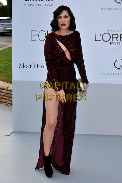 Jessie J (Jessica Ellen Cornish).AmFAR Cinema Against AIDS 2012, Hotel du Cap, Antibes during the 65th  Cannes Film Festival, France..24th May 2012.full length red maroon burgundy cut out away slit split ankle boots leopard print animal hand arm mouth open clutch bag.CAP/PL.©Phil Loftus/Capital Pictures.