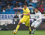 Rodrigo Hernandez Cascante, Rodri (L), of Villarreal CF competes for the ball with Carlos Henrique Casemiro of Real Madrid during the La Liga 2017-18 match between Real Madrid and Villarreal CF at Santiago Bernabeu Stadium on January 13 2018 in Madrid, Spain. Photo by Diego Gonzalez / Power Sport Images